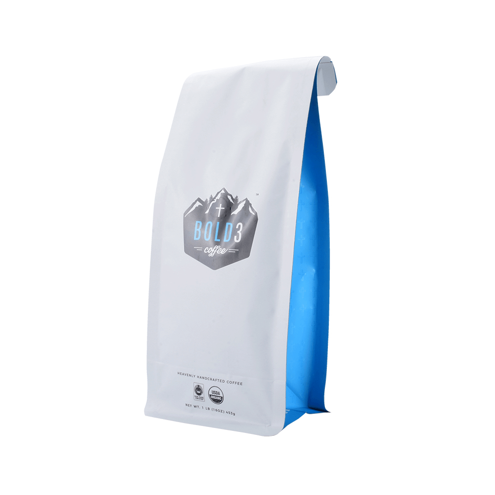 White and blue coffee bag